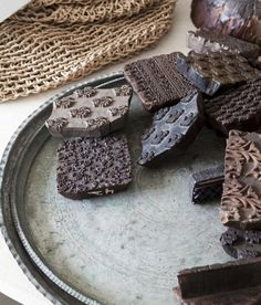 Indian wood printing blocks (though at first I thought they were chocolate pieces, which gave me an idea ...)