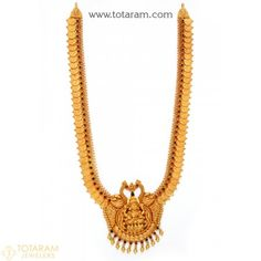 22K Gold 'Lakshmi Kasu' Long Necklace with Beads(Temple Jewellery) - 235-GN3522 - Buy this Latest Indian Gold Jewelry Design in 74.550 Grams for a low price of $4,160.54 Indian Gold Jewellery Design, Gold Temple Jewellery, Gold Chain Design, Jewelry Design, Gold Jewelry Simple, Gold Earrings Designs, Bollywood Jewelry, Japanese Culture, Minimalist Jewelry