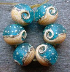 Lampwork beads 1189 Rounds 6 Ocean Waves Sea Water by beadgoodies. , via Etsy.