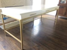 custom metal and wood French inspired desk, gloss white lacquer finish, gold metal base