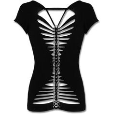 PUNK RAVE METAL SPINE TOP ($37) ❤ liked on Polyvore featuring tops, shirts, black top, shirts & tops, black metal shirt, punk rock shirts and punk shirt