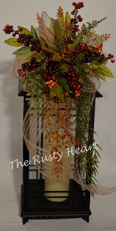 Fall Lantern Swag with Burlap Ribbon Fall Lantern Centerpieces, Fall Lanterns, Christmas Lanterns, Christmas Swags, Lanterns Decor, Christmas Centerpieces, Christmas Crafts, Easy Holiday Decorations, Flower Decorations