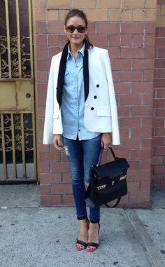 A BCBG jacket, Top Shop shirt, AG Jeans, Tibi shoes and a Delvaux handbag.