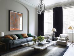 Dramatic orange painting creates a focal point in this living room design by interior designer Rose Uniacke Bright Apartment, Apartment Interior, Apartment Design, Living Room Decor, Living Spaces, Rose Uniacke, Best Interior Design Websites, Drawing Room, Living Room Inspiration