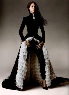 Givenchy by Alexander McQueen Haute Couture Spring 1999. coat black and white ruffle