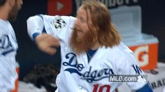 """New trending GIF on Giphy. Justin Turner, every time he would go up to batt I would say """"Go redhead, go redhead!!"""""""
