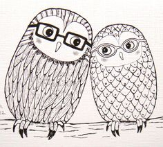 Owl Love Illustration PRINT Original Ink Drawing by mikaart, $7.99 Wedding announcement? What? It'd be hilarious.