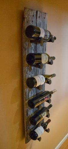 Barn wood & railroad spike wine rack - guest book / sign wine bottles to open at 1, 5, 10, 25 year anniversaries