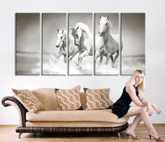 extra large wall art horse oversize art wild horses canvas print large art wild