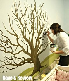 My Wonderful Walls: Forest Friends Wall Mural Stencil Kit Tree Wall Painting, Tree Wall Murals, Tree Wall Art, Mural Painting, Tree Art, Tree Paintings, Diy Painting, Tree Wall Stencils, Wall Painting Design