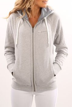 Breanna Zip Thru Hoodie Light Grey Marle
