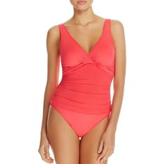 Lauren Ralph Lauren Beach Twist Underwire One Piece Swimsuit ($110) ❤ liked on Polyvore featuring swimwear, one-piece swimsuits, neon coral, neon one piece swimsuit, neon bathing suits, 1 piece bathing suits, ralph lauren bathing suits and neon one piece bathing suits