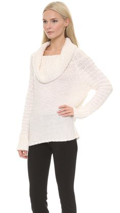 Shopbop Donna Karan New York White Oversized Cowl Neck Sweater Ivory
