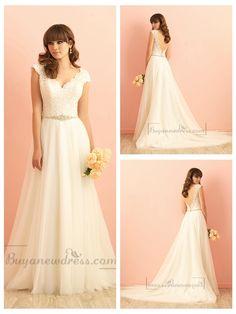 Cap Sleeves V neckline A-line Lace Wedding Dress with Deep V-back
