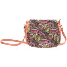 Pink Orange Green Vintage Floral Pattern Classic Saddle Bag/Large (Model 1648)