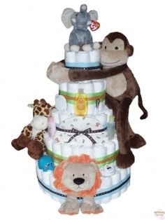 jungle diaper cake. what could we build this out of instead of diapers?