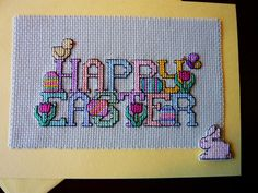 Happy Easter cross stitch greeting card - Bunny - Easter Eggs - holiday card