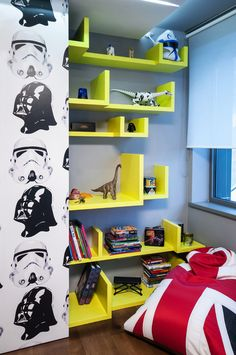 Shelving for Logan? modern boy room 8 Inspiring Bedrooms for Boy and Girl in Modern Slovakian Crib Bedroom Themes, Kids Bedroom, Bedroom Decor, Bedroom Ideas, Bedroom Wall, Wall Decor, Decoracion Star Wars, Modern Boys Rooms, Home Interior Design