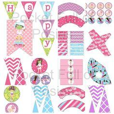 Spa Day Girls Night Birthday Party Pack Package Digital Download #PocketFullofPosies #Banner Cupcake Toppers Favor box Straw Flag #DIY printables DIY