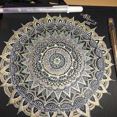 Latest #mandala #handdrawn drawing #gelpens  White and two lots of gold . . . . . #blackandwhite #instablack #meditation #manalamaze #flowermandala #flowerporn #loveart #zentangle #mandalaslovers #mandalalover #originaldesign #creative #art #drawing #doodle #ink #zendala #zenart #zentanglemandalalove
