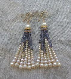 Pearl Iolite Tassel Earrings at 1stdibs