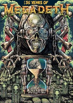 35 years of Megadeth (submission) on Behance Heavy Metal Rock, Heavy Metal Music, Heavy Metal Bands, Rock Posters, Band Posters, Vic Rattlehead, Rock Y Metal, Extreme Metal, Metal Albums