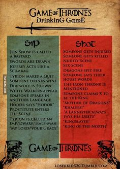 Game of Thrones Drinking Game. Why did I not find this earlier in the season?!