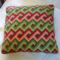 BARGELLO NEEDLEPOINT PILLOW Retro Geo Red Green and Pink Zig Zag Design, Variegated Colors, Handmade, Corduroy  Piping, Zipper Opening via Etsy