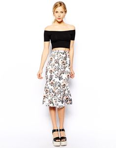 Scuba Pencil Skirt With Peplum Hem In Tropical Print
