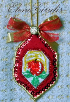 а Embroidery, Christmas Ornaments, Holiday Decor, Home Decor, Needlepoint, Decoration Home, Room Decor, Christmas Jewelry, Christmas Decorations
