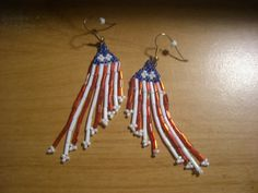 Hand Beaded Red White and Blue Pierced Ear Rings by NanaBunny, $12.00