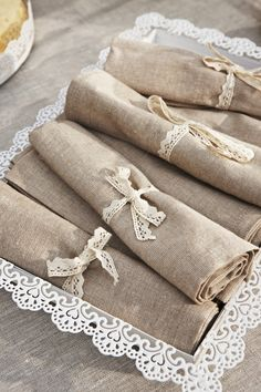 A Garden Tea - Lace Cut Tray with lace knot napkins
