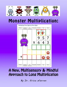 This product offers a innovative, mindful and multi-sensory methodology. This colorful, 46 page, PDF download is comprehensive with instructional tools, memory strategies and activities for multiplying 1 by 2, 2 by 2 and 3 by 3 digits.  Color coded steps, cute cartoon characters, manipulatives, templates, rhymes and ditties offer an empowering process for all types of learners.  This method also presents a grid to help students that struggle with fine motor and spatial weaknesses. $7.99