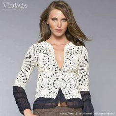 Patrón #1199: Chaqueta Vintage a Crochet | CTejidas [Crochet y Dos Agujas]