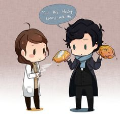 Molly and Sherlock. I wish this was on a shirt..