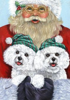 renaud painting | Bichon Frise and Santa by Suzanne Renaud