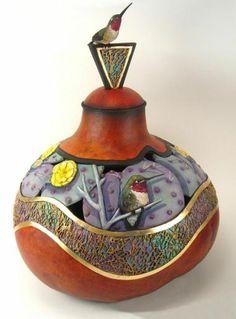 Bonnie Gibson's Cactus Inlay Gourd Arizona Gourds Unique Southwestern Gourd Art by Bonnie Gibson