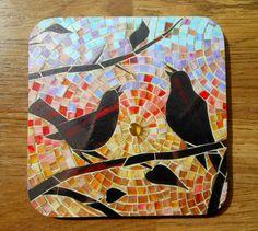 Coaster  image of Mosaic Dawn Chorus by lamosaicgifts on Etsy