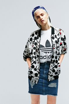 Vintage One-Of-A-Kind Mickey Bomber Jacket http://uoeur.pe/uorenewal #UrbanOutfitters #Vintage