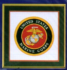 "USMC Military Emblems Counted Cross Stitch Kit #545 Marines 14"" square finished"