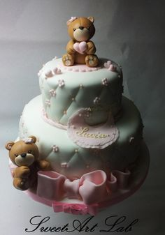 sweet little bears Fancy Cakes, Cute Cakes, Baby Shower Cake Decorations, Teddy Bear Cakes, Baby Girl Cakes, Cake Gallery, Occasion Cakes, Macaron, Love Cake