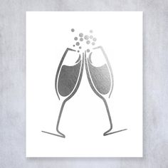 Champagne Toast Silver Foil Art Print Bar Cart Sign Drinks Party Decor Clinking Champagne Flutes 8 inches x 10 inches A15. Digibuddha(TM) real foil art prints are made by hand in our small shop just outside of Philadelphia. • Made with gorgeous luxe silver foil and premium pure white matte card stock. • Prints arrive unmatted, ready to be placed in your favorite frame. • Original design: all Digibuddha(TM) paper goods are exclusively created in-house by our design team. /// Clinking...