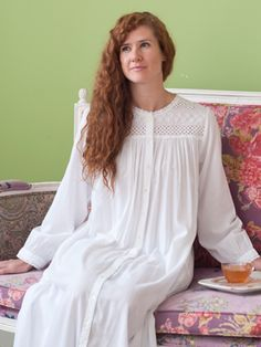 Faith Ladies Nighty | Ladies, Plus Size :Beautiful Designs by April Cornell. This is very lovely, in a soft rayon bamboo fabric, and a beautiful cutwork bodice. Could be a dressing gown as it buttons completely down the front.