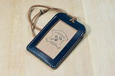 Blue Hermann Oak ID Card Holder (Tall) New Item from Eternal Leather Goods