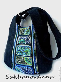 """Сумка """"Восток-дело тонкое"""" - чёрный,сумка джинсовая,Сумка с вышивкой,сине-зелёная"""