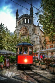 Tram Passing Through Soller, Mallorca, Spain