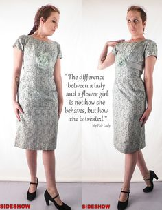 VTG Early 60's 1960's Light Blue Floral Lace Fitted/ Tailored Semi Formal Wiggle DRESS // Du Rite// Size Small, $64.00