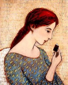 untitle picture of woman reading small book Brian Kershisnik (contemporary) - artisticmoods)