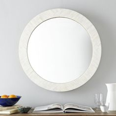 Parsons Round Mirror - Bone Inlay x Small Wall Mirrors, Round Mirrors, Frame Wall Decor, Frames On Wall, Mirror Inspiration, Wall Decor Pictures, West Elm, Contemporary Mirrors, Modern Mirrors