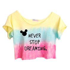 Never Stop Dreaming Ombre Tie Dye Crop Top #neverstopdreaming #ombre #tiedye #disney $24